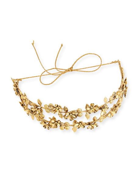 Adele Floral Circlet Headband, Gold