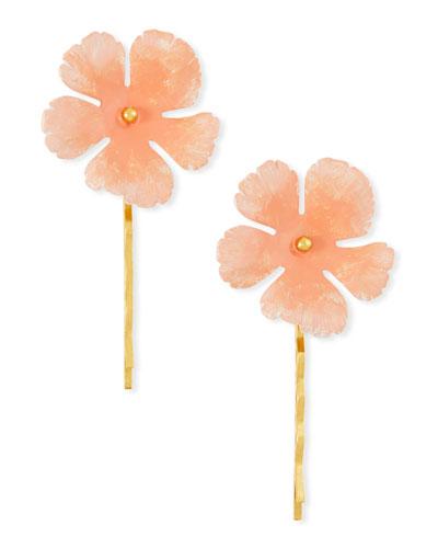 Poppy Floral Bobby Pins, Set of 2