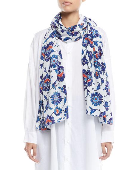 ESKANDAR Floral-Print Silk Scarf in Multi