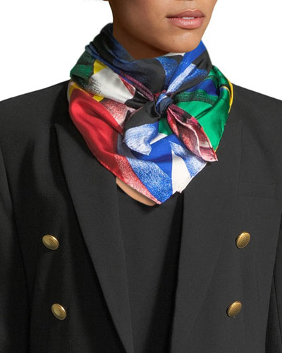 Clash-Print Square Silk Scarf