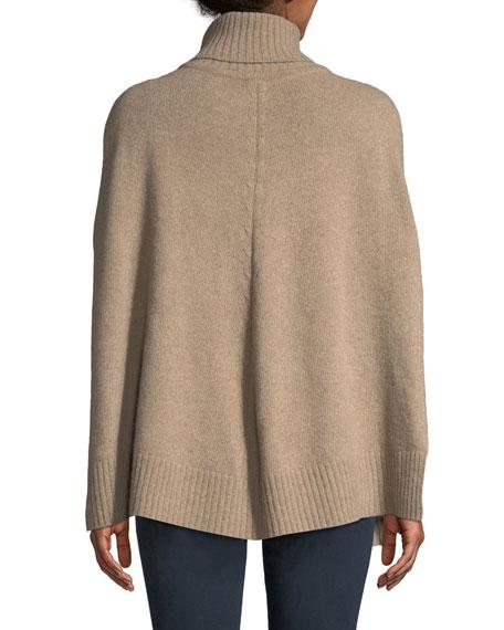 Cashmere Turtleneck Poncho w/ Fur Pockets