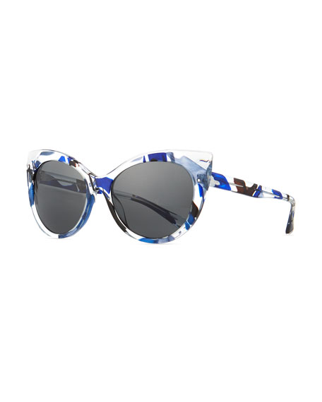 Image 1 of 1: Leala Clear Cat-Eye Sunglasses