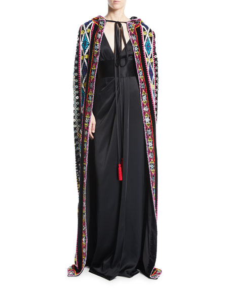 Tie-Neck Embroidered Cape