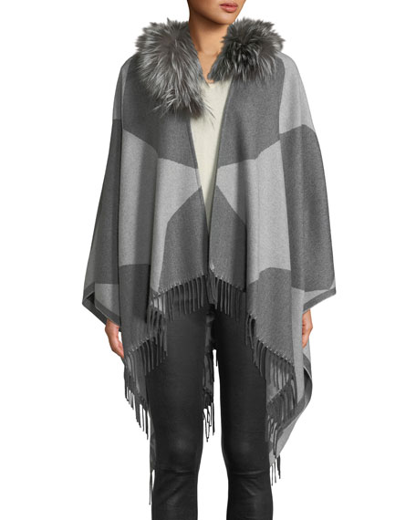 Colorblock Wool Poncho with Fur Collar