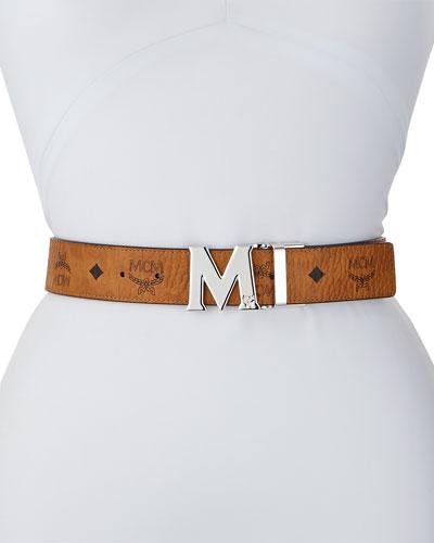 Reversible M-Buckle Belt  - Silvertone Buckle