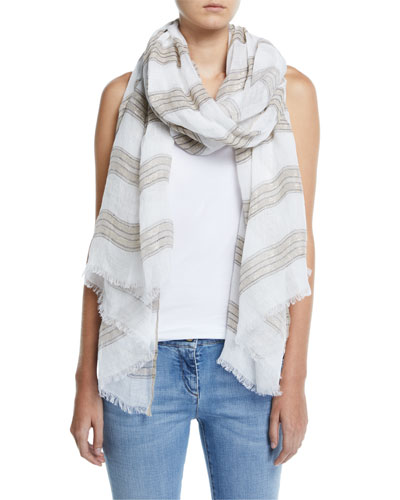 Shimmer Striped Linen Scarf