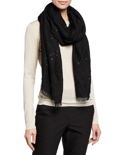 Paillette-Embellished Cashmere/Silk Scarf