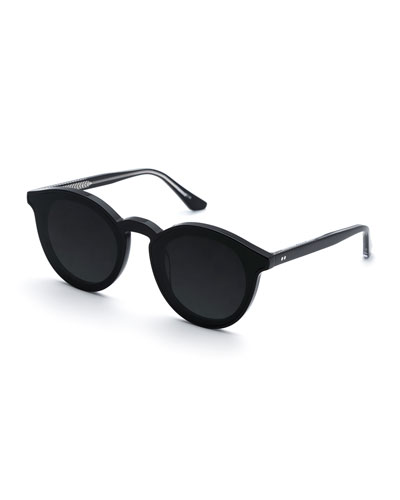Collins Round Monochromatic Acetate Sunglasses w/ Nylon Overlay Lens