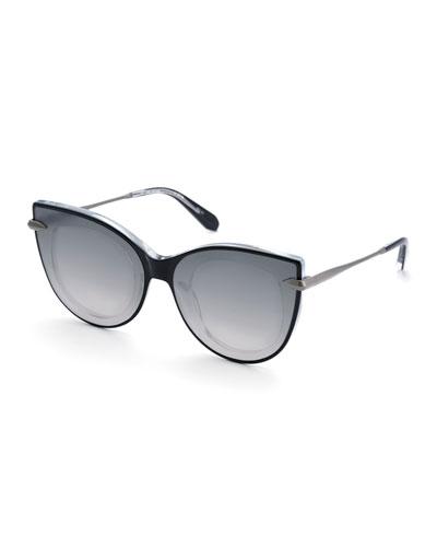 Laveau Cat-Eye Acetate Sunglasses w/ Nylon Mirrored Overlay Lenses