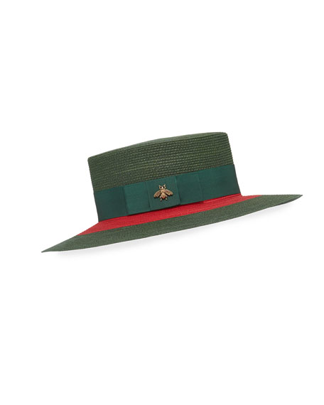 Image 1 of 1: Green & Red Woven Hat w/ Bee Detail