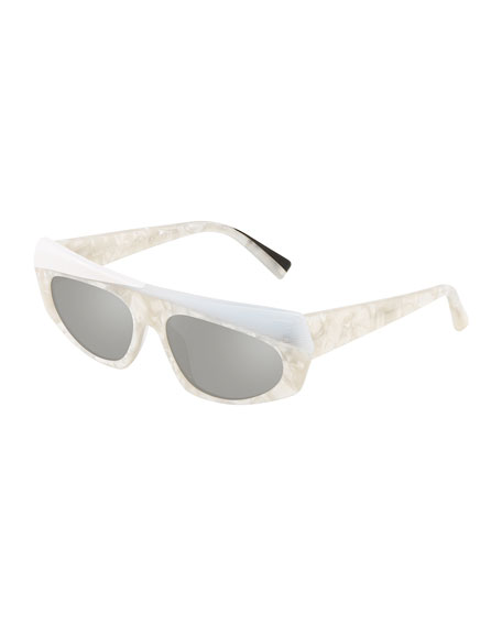 Image 1 of 1: Pose Mixed Acetate Shield Sunglasses