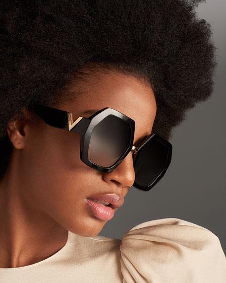 Octagonal Acetate V-Inset Sunglasses
