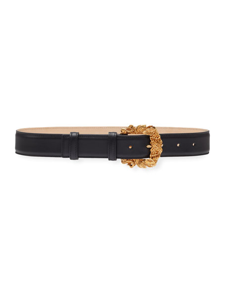 Image 1 of 1: Leather Baroque-Buckle Belt