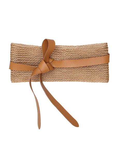 Woven Linen Leather Wrap Belt