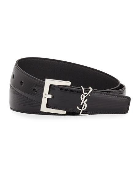 YSL Monogram Textured Patent Leather Belt
