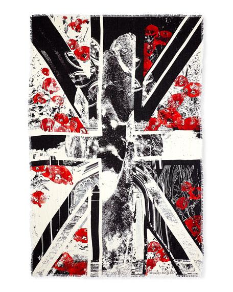 Show Flag Poppies Print Shawl