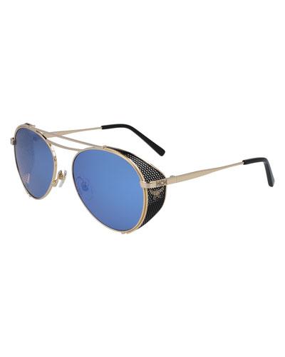 Mirrored Aviator Sunglasses w/ Side Blinders