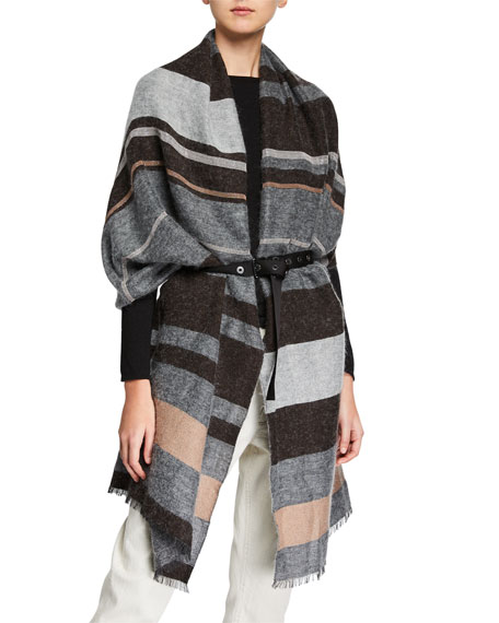 BRUNELLO CUCINELLI Belts MONILI-BEADED STRIPED SCARF WITH BELT