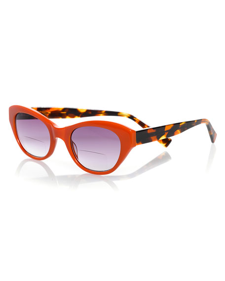 B'Witched Two-Tone Cat-Eye Sun Readers, Tortoise/Orange