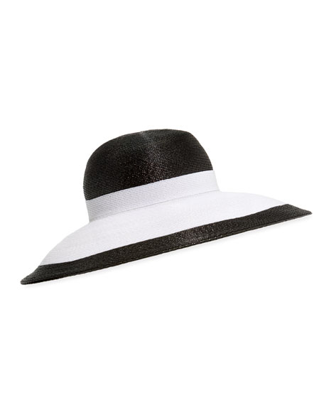 Image 1 of 1: Joan Two-Tone Lacquered Straw Structured Hat