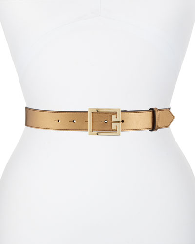 Metallic Leather Belt w/ Double-G Logo Buckle