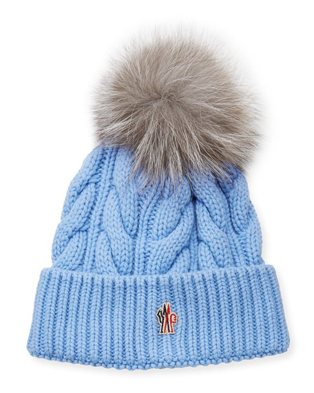 Image 1 of 1: Cable-Knit Fur Pompom Beanie