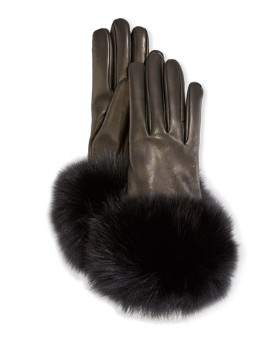 Cashmere-Lined Leather Gloves w/ Fox Fur Cuffs