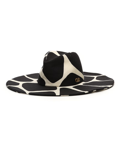 Giraffe Print Virgin Wool Large Brim Hat