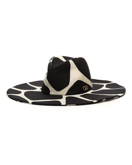 Giraffe Print Virgin Wool Large Brim Hat