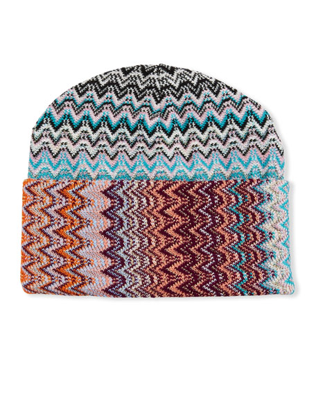 Multicolor Zigzag Beanie Hat