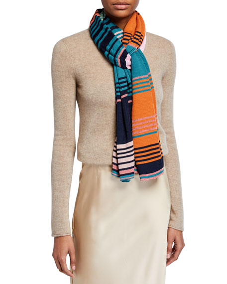 Image 1 of 1: Colorblock Metallic Stripe Scarf