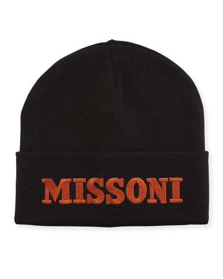 Wool-Blend Logo Embroidered Beanie Hat