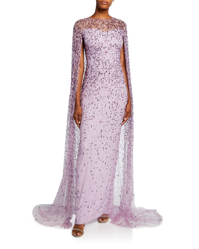 Geometric-Beaded Caped Illusion Gown