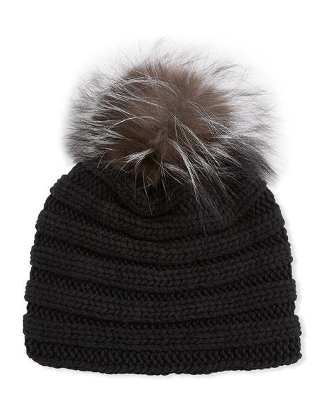 Knit Cashmere Beanie Hat w/ Fox Fur Pompom