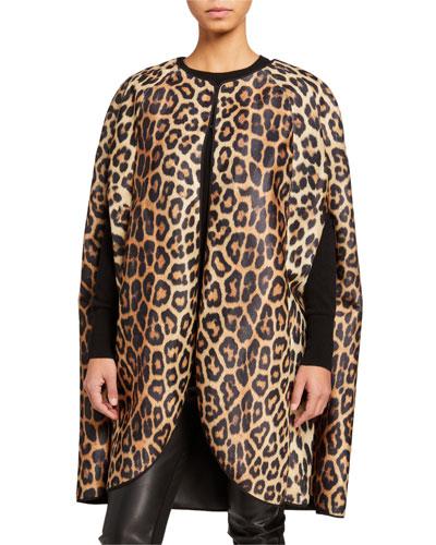 Leopard Print Faux Fur Cape