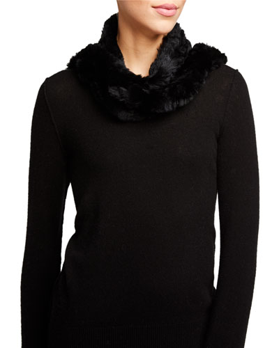 Knit Rabbit Fur Hooded Scarf