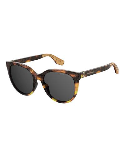 Round Glittered Acetate Sunglasses