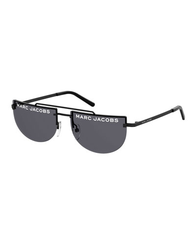 Rimless Flat Top Logo Sunglasses