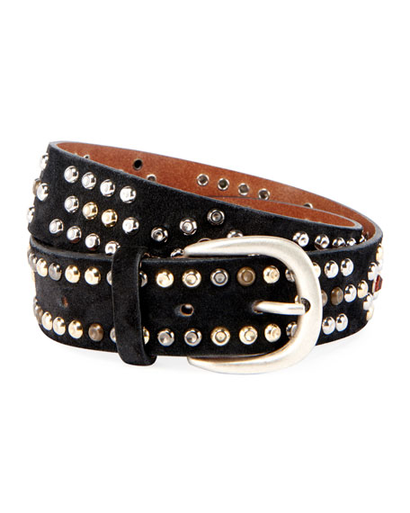 Image 1 of 1: Devi Studded Suede Belt