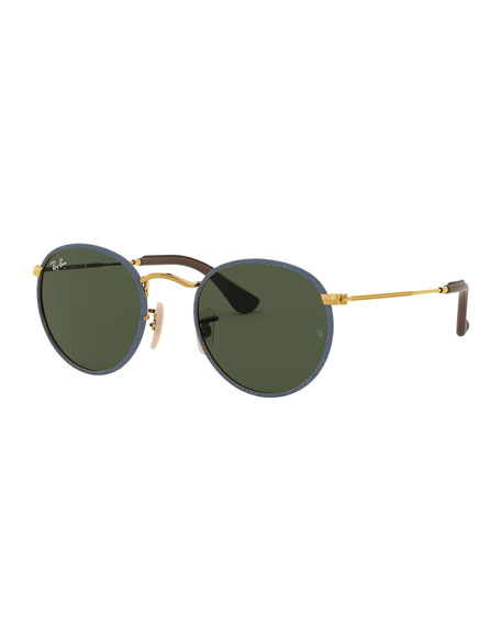 Image 1 of 1: Glitter Front Round Metal Sunglasses