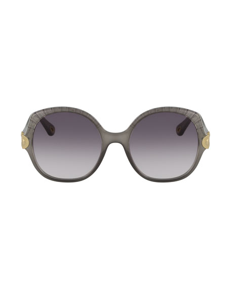 Scalloped Round Plastic Sunglasses