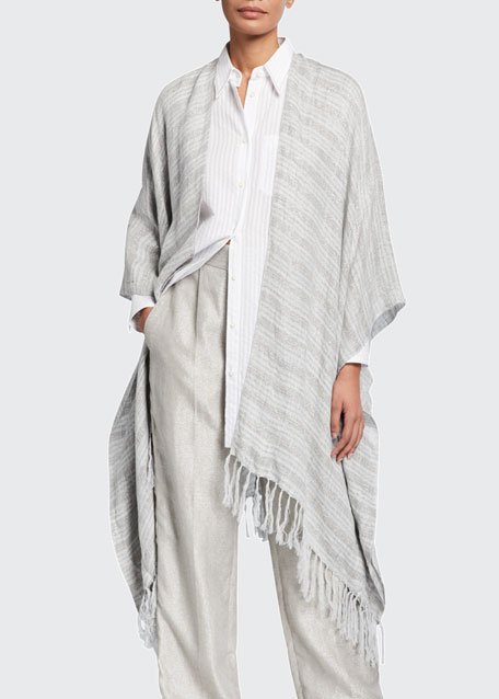 Image 1 of 1: Fringed Metallic-Striped Linen Poncho
