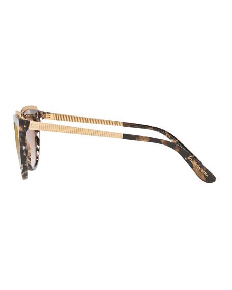 Acetate Cat-Eye Sunglasses w/ Metal Ridged Trim
