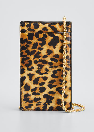 Augusta Leopard-Print Chain Phone Crossbody Bag