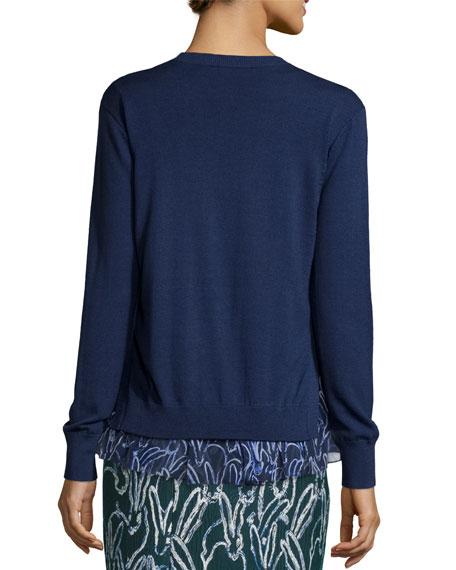 Merino Sweater w/ Bunny-Print Chiffon Trim