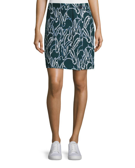 GREY by Jason Wu Bunny-Print Combo Jacquard Skirt,