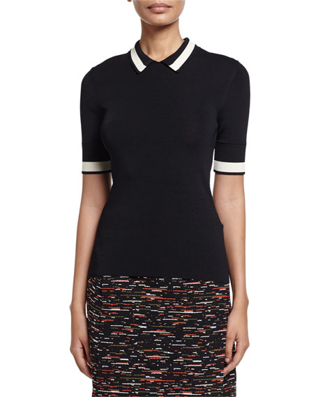 GREY by Jason Wu Short-Sleeve Contrast-Striped Ribbed-Knit Polo,