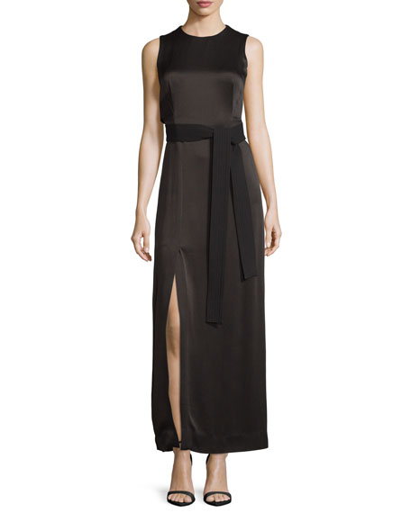 Sleeveless Jewel-Neck Satin Column Gown w/ Sash, Black