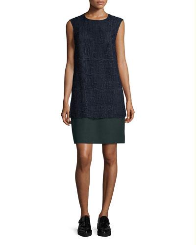 Cap-Sleeve Lace-Combo Shift Dress, Marine/Deep Forest