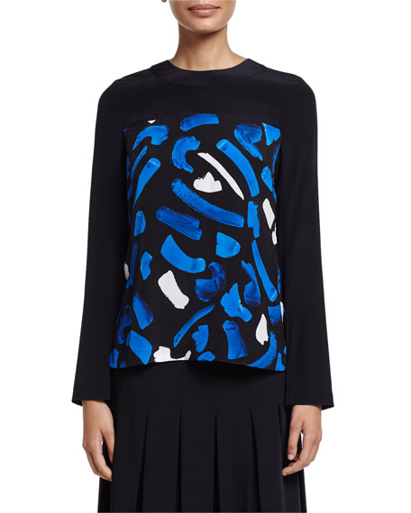 Long-Sleeve Brushstroke-Print Top, Blue/White Multi